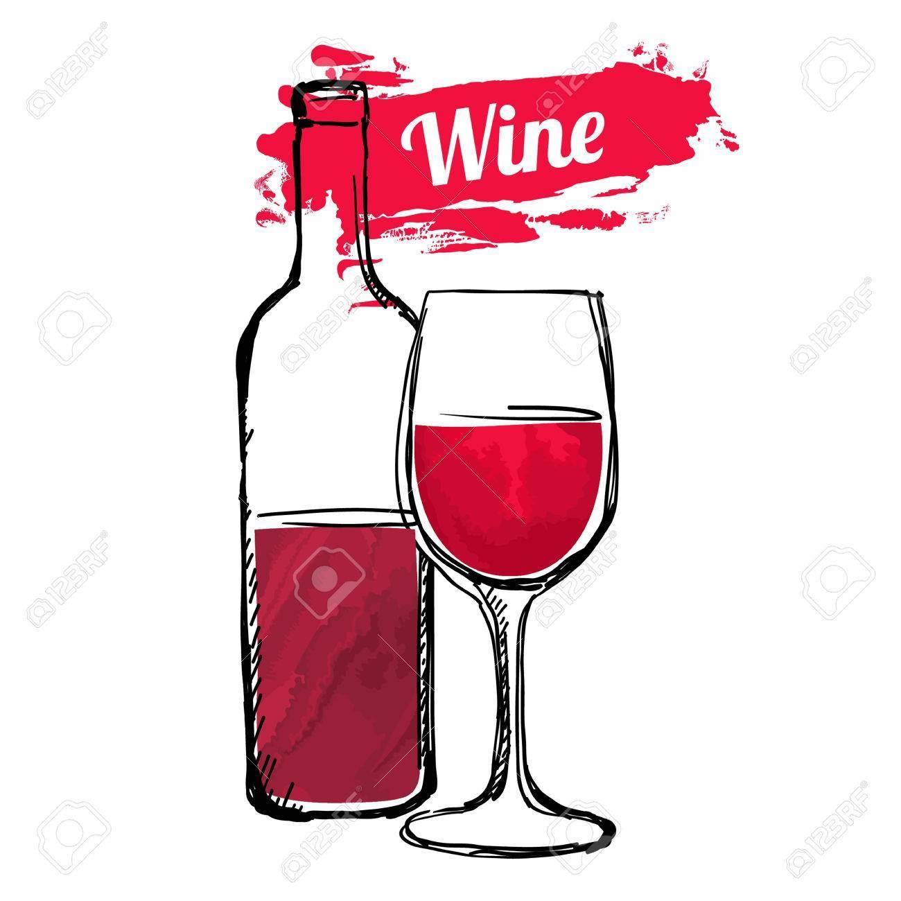 61529249-赤ワインの手描きイラスト
